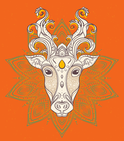 south india: Greeting Beautiful card with Cow. Frame of animal made in vector. Perfect cards, or for any other kind of design, Happy Pongal .Seamless hand drawn map festival celebration in South India