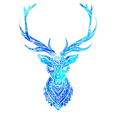 whitetail deer: Ornament deer vector. Beautiful illustration deer  for design, print clothing, stickers, tattoos, Adult Coloring book. Hand drawn animal illustration. Bohemian deer lace watercolor