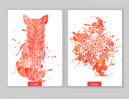 polygraphy: Ornament print for notebook fox. Beautiful illustration fox  for design, print coloring, polygraphy. Adult Coloring book. Hand drawn animal illustration. Lace fox and mandala ornamental page watercolor Illustration