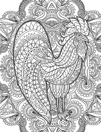 calendar page: Zodiac Signs of Rooster. Rooster Chinese New year 2017 beautiful illustration ornament rooster. Coloring book for adults. Cock vector