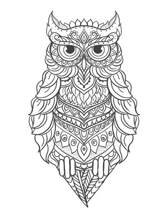 owl isolated: Ornament owl vector. Beautiful illustration owl for design, print clothing, stickers, tattoos, Adult Coloring book. Hand drawn animal illustration. Bohemian owl lace Illustration