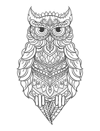 Vector búho ornamento. Hermoso ejemplo del búho para el diseño, ropa de impresión, adhesivos, tatuajes, libros para colorear para adultos. Dibujado a mano ilustración de los animales. búho del cordón de Bohemia