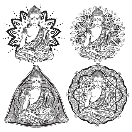 budha: Ornament beautiful card with Buddha. Geometric element hand drawn. Medallion, yoga, india, arabic, lotus Buddha was a sage on whose teachings Set buddha with mandala to color coloring books for adults