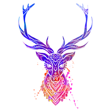 whitetail deer: Ornament deer vector. Beautiful illustration deer  for design, print clothing, stickers, tattoos, Adult Coloring book. Hand drawn animal illustration. Watercolor deer lace Illustration