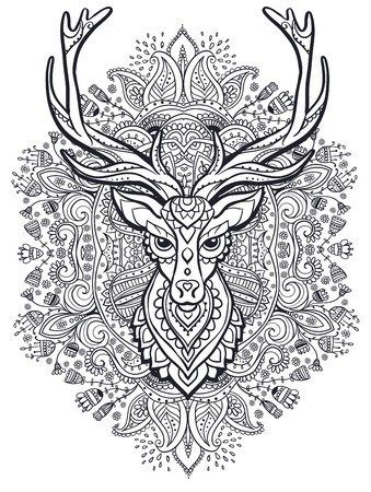whitetail deer: Ornament deer vector. Beautiful illustration deer  for design, print clothing, stickers, tattoos, Adult Coloring book. Hand drawn animal illustration. Bohemian deer lace