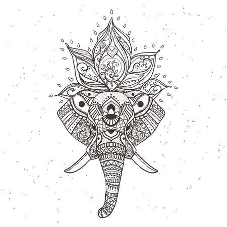 인사말 코끼리와 함께 아름 다운 카드입니다. 벡터에서 만든 동물의 프레임입니다. 완벽한 카드, 또는 다른 종류의 디자인, 생일 및 기타 holiday.Seamless 손으로 그린 코끼리와지도.