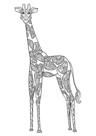 brindled: Ornament giraffe vector. Beautiful illustration giraffe for design, print clothing, stickers, tattoos, Adult Coloring book with giraffe. Hand drawn animal illustration. giraffe lace ornamental