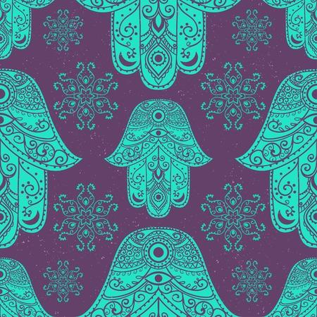 talisman: Tarjeta del ornamento con hamsa. círculo elemento geométrico hecho en vector. hamsa ornamentales talismán, la protección del símbolo del ojo. Kaleidoscope, medallón, el yoga, la india, árabe