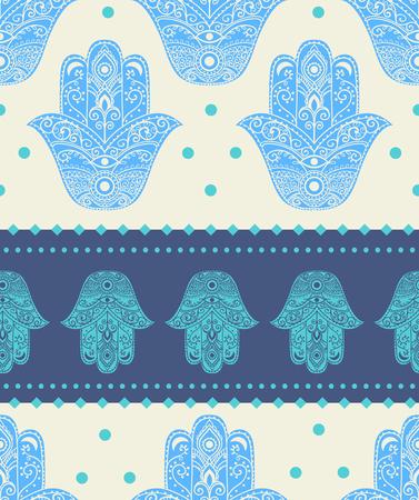 kabbalah: Ornament card with hamsa. Geometric circle element made in vector. Talisman ornamental hamsa, symbol Eye protection. Kaleidoscope,  pattern, yoga, india, arabic Illustration