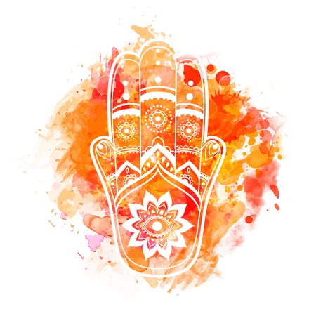 Tarjeta del ornamento con hamsa. círculo elemento geométrico hecho en vector. hamsa ornamentales talismán, la protección del símbolo del ojo. Kaleidoscope, medallón, el yoga, la india, árabe