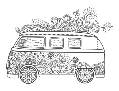 60s: Hippie vintage car. Love and Music with hand-written fonts, hand-drawn doodle background and textures. Hippy color vector illustration. Retro 1960s, 60s, 70s, Woodstock Music and Art Fair. Illustration