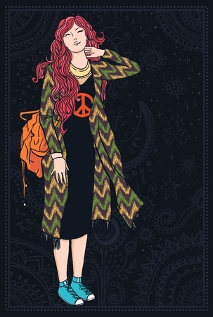 heyday: hippie girl with a backpack, dress with fringe. Illustration for print, clothing design, and web sites. Hippy or hippie philosophy and subculture movement heyday came in the late 1960s -1970s