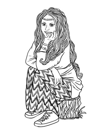 heyday: hippie girl with a backpack, bohemian girl, boho style. Illustration for print, clothing design, and web sites. Hippy or hippie philosophy and subculture movement heyday came in the late 1960s -1970s