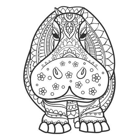 Ornament  hippo vector. Beautiful illustration hippopotamus for design, print clothing, stickers, tattoos, Adult Coloring book. Hand drawn animal illustration. Hippo lace ornamental Vettoriali