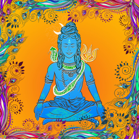 shiva: Ornament illustration with God Shiva. Illustration of Happy Maha Shivaratri. Moveable feast, we have it on the night before the new moon falls in February and March. Mahashivaratri festival.