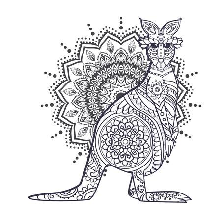 Ornament kangaroo vector. Beautiful illustration kangaroo for design, print clothing, stickers, tattoos, Adult Coloring book. Hand drawn animal illustration. Bohemian kangaroo lace Vector Illustration
