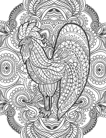 cock hand: Zodiac Signs of Rooster. Rooster Chinese New year 2017 beautiful illustration ornament rooster. Coloring book for adults. Cock vector