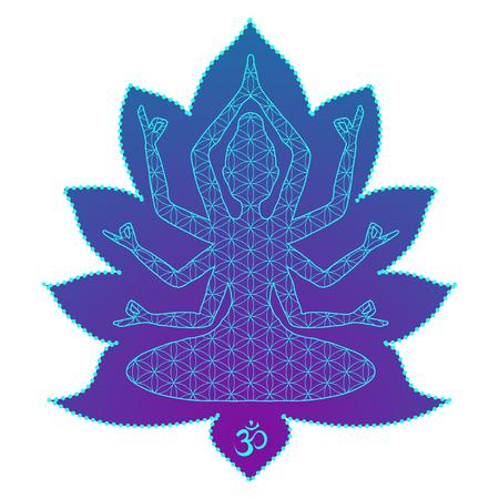 joga: Yoga is a set of different spiritual, mental  physical practices beautiful card with Vector yoga Card for design textile textures lo os  Yoga is Raja Yoga Karma Yoga Jnana Yoga Bhakti Yoga Hatha Yoga