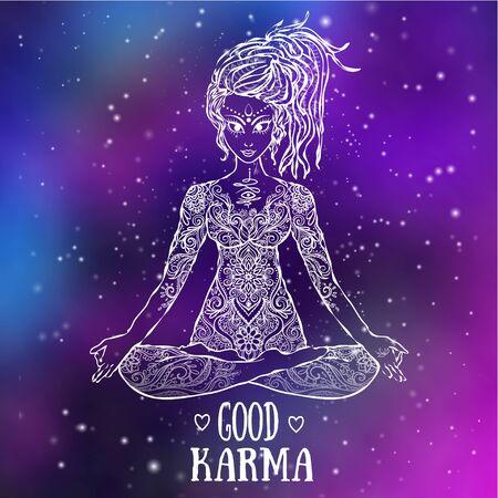 Ornament beautiful card with Vector yoga. Geometric element hand drawn. Kaleidoscope, medallion, yoga, india, arabic, peace love