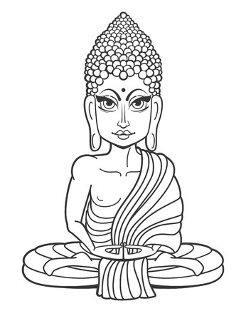 aura sun: Drawing of a Buddha statue. Art vector illustration of Gautama Buddha Gautama Buddha. Buddhism Religion. Buddha Bless Band. Design for greeting card, print clothing. The concept of Yoga Studio.