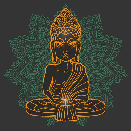 gautama buddha: Drawing of a Buddha statue. Art vector illustration of Gautama Buddha Gautama Buddha. Buddhism Religion. Buddha Bless Band. Design for greeting card, print clothing. The concept of Yoga Studio.