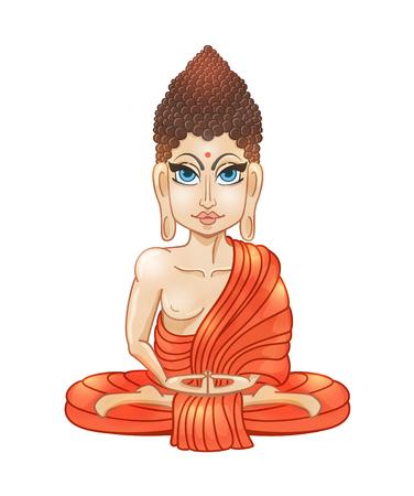gautama buddha: Drawing of a Buddha statue. Art vector illustration of Gautama Buddha  Buddhism Religion. Bless Band. Design for greeting card, print clothing. The concept of Yoga Studio.