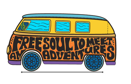 fonts music: Hippie vintage car a mini van Ornate background Love and Music with hand-written fonts hand-drawn doodle background and textures Hippy color vector illustration Retro 1960s 60s, 70s Woodstock festival