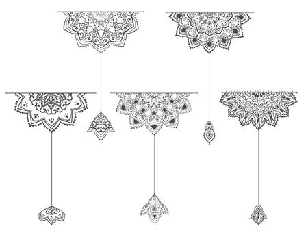 만다라 세트 및 다른 요소입니다. 벡터. 만다라 문신. 디자인, 생일 및 기타 휴일, 만화경, 메달, 요가, 인도, 아랍어의 완벽한 카드. 귀영 나팔을위한 원