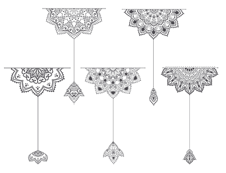 Mandala set and other elements. Vector. Mandala tattoo. Perfect cards of design, birthday and other holiday, kaleidoscope, medallion, yoga, india, Arabic. circular pattern sketch for tattoo Illustration