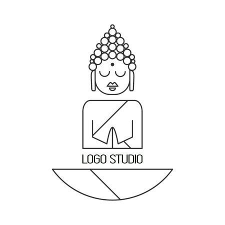 thai dance: Drawing of a Buddha statue. Art vector illustration of Gautama.Design for greeting card, print clothing. The concept of  Yoga Studio. Illustration