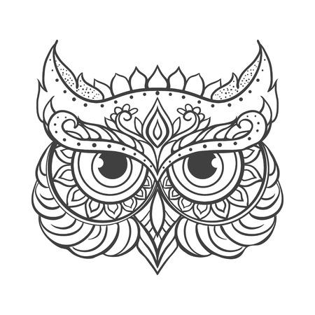 장식 올빼미 벡터입니다. 아름 다운 그림 올빼미 디자인, 인쇄 의류, 스티커, 문신, 성인 색칠하기 책. 손으로 그린 동물 그림입니다. 보헤미안 올 일러스트