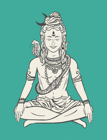 mediation: Ornament beautiful card with God Shiva. Illustration of Happy Maha Shivaratri. Mahashivaratri festival. Hinduism in India. Mediation