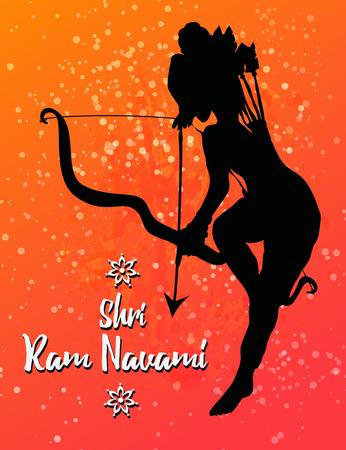 rama: Ornament beautiful card with hindu god sri Rama Geometric element hand drawn image lord Rama. Medallion, yoga, india, vector illustration of Happy Dussehra. Happy Shri Ram Navami. Holiday India