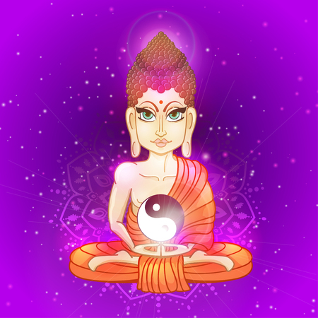 Drawing of a Buddha statue. Art vector illustration of Gautama. Buddhism Religion. Buddha Bless Band. Design for greeting card, print clothing. The concept of Yoga Studio. Illustration