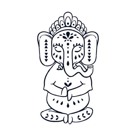 Card with elephant Ganesha Hindu god. Ornament background. Illustration for prints dress, coloring book. Animal vector pattern. Yoga studio and Happy Birthday Chaturthi