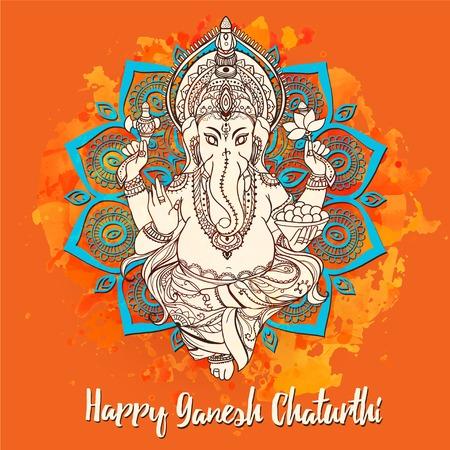Ornament beautiful card with God Ganesha. Illustration of Happy Ganesh Chaturthi. God with elephant head. Illustration of Happy Ganesh Chaturthi, holiday, kaleidoscope,  medallion, yoga, india, arabic