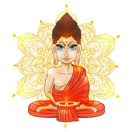 gautama: Drawing of a Buddha statue. Art vector illustration of Gautama. Buddhism Religion. Buddha Bless Band. Design for greeting card, print clothing. The concept of Yoga Studio. Illustration