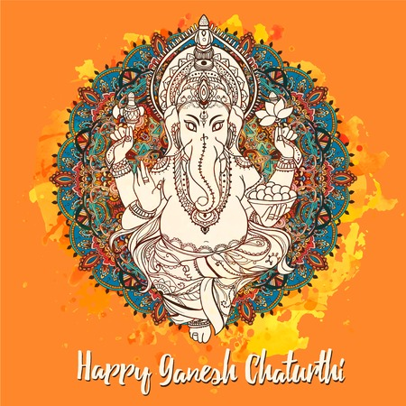 ganesh: Ornament beautiful card with lord Ganesh image. God with elephant head. Illustration of Happy Ganesh Chaturthi. Invitation, greeting, birthday, holiday card. Indian traditional festival