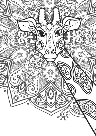 adult kenya: Ornament giraffe vector. Beautiful illustration giraffe for design, print clothing, stickers, tattoos, Adult Coloring book with giraffe. Hand drawn animal illustration. giraffe lace ornamental