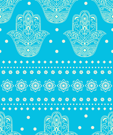 Ornament card with hamsa. Geometric circle element made in vector. Perfect  cards for any other kind of design, birthday and other holiday, kaleidoscope,  medallion, yoga, india, arabic