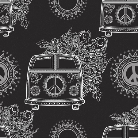 woodstock: Hippie vintage car a minivan. Ornamental background. Love and Music with textile doodle background and textures. Hippy color vector illustration. Retro 1960s, 70s style