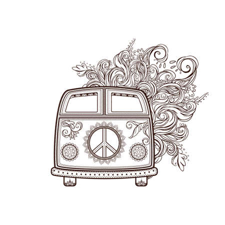 60s: Hippie vintage car a mini van. Ornamental background. Love and Music with hawn doodle background and textures. Hippy color vector illustration. Retro 1960s, 60s, 70s