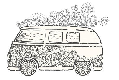 Hippie De Coches De época De Una Mini Van. Fondo Ornamental. El Amor ...