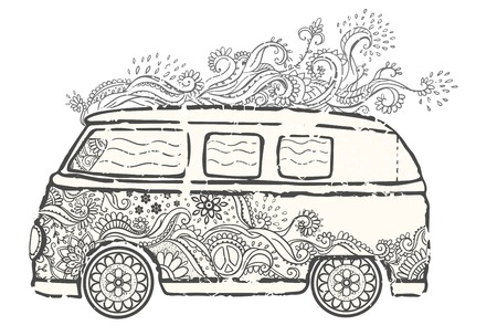 woodstock: Hippie vintage car a mini van Ornate background Love and Music with hand-written fonts hand-drawn doodle background and textures Hippy color vector illustration Retro 1960s 60s, 70s Woodstock festival