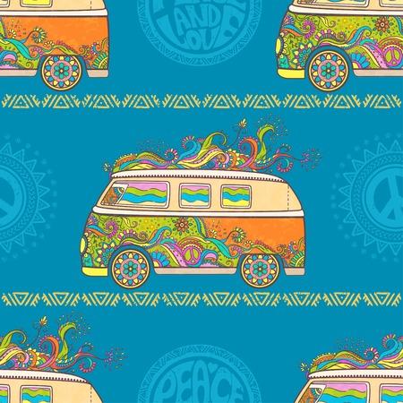 ヒッピー ヴィンテージ車花の子供たちの愛と音楽、手パターン フォント繊維の背景テクスチャとウッド ストックの人気ミニバン記号。ヒッピー色