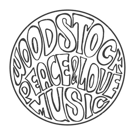 woodstock: Hippie style. Ornamental retro background Love and Music with hand-written fonts hand-drawn doodle background and textures Hippy color vector illustration. Retro 1960s, 60s, 70s. We love hitchhiking!