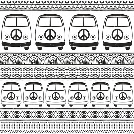 fonts music: Hippie vintage car a minivan. Ornamental background. Love and Music, woodstock with hand pattern fonts, textile doodle background and textures. Hippy color vector illustration. Retro 1960s, 70s style Illustration