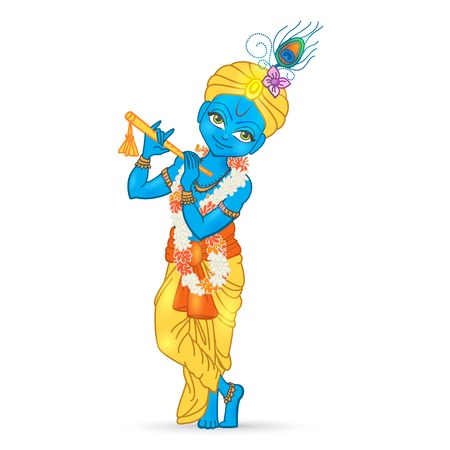 kalash: Ornament card with Lord Shri Krishna birthday. Illustration in vector art. Happy Janmashtami Day Hindu. Vedic Feast India. Use for banners, card, wallpaper, print. Cartoon little baby krishna image Illustration