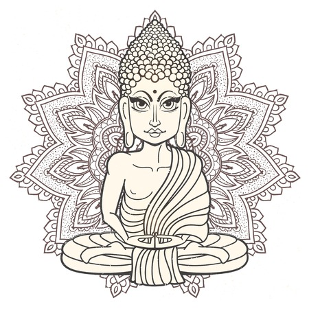 Zeichnung einer Buddha-Statue. Kunst Vektor-Illustration von Gautama Buddha Gautama Buddha. Buddhismus Religion. Buddha Bless Band. Design für Grußkarte, Druck Kleidung. Das Konzept des Yoga Studio.