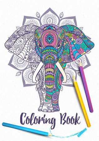 Card with Elephant. Frame of animal made in vector. Illustration for design, Adult coloring book Illustration